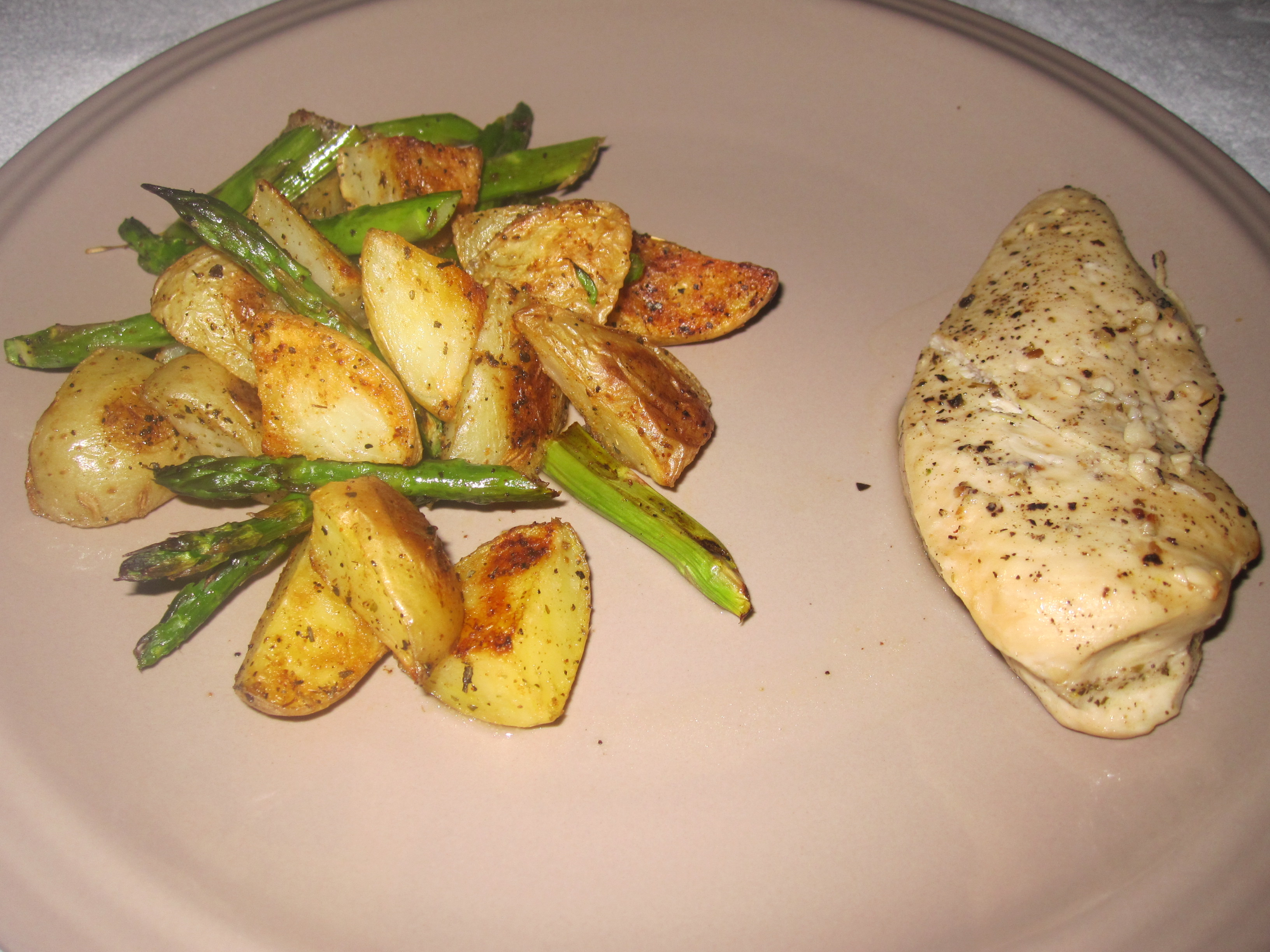Lemon chicken with roasted asparagus and potatoes ...