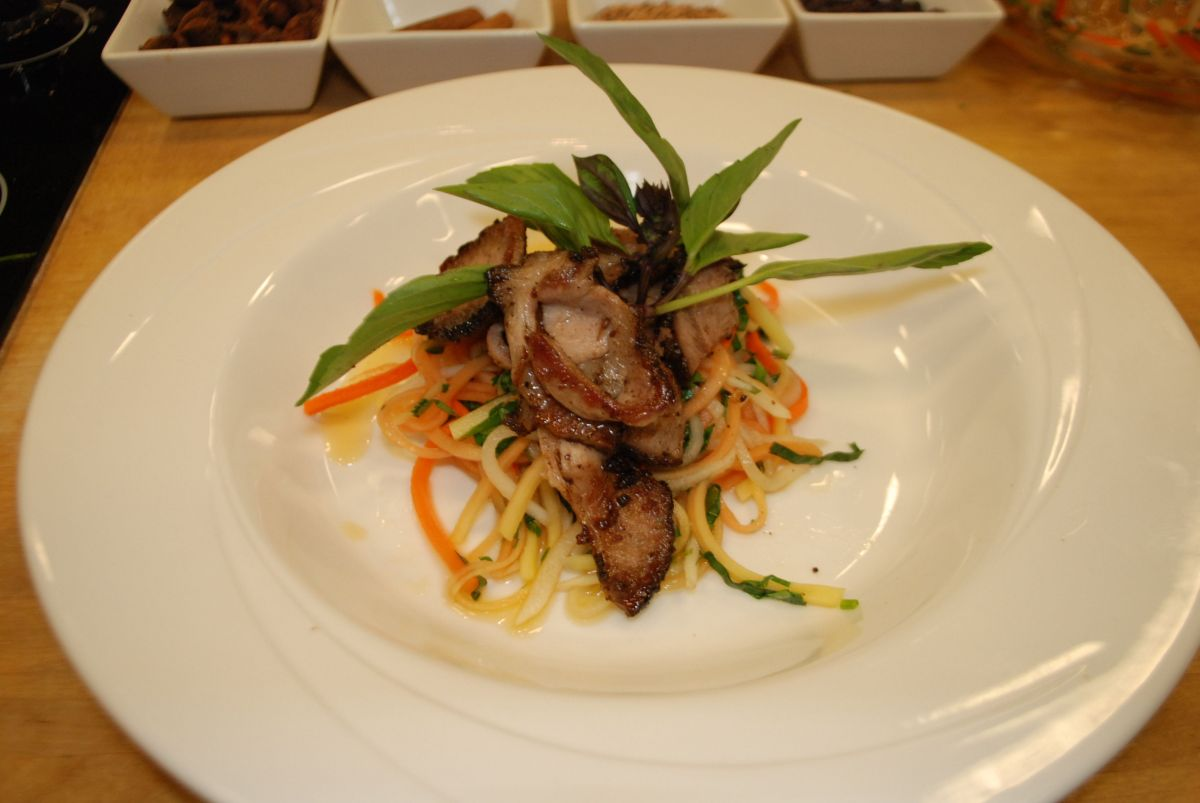 Slow roasted pork over green papaya salad as demonstrated at the Flower Show. (March 2012)
