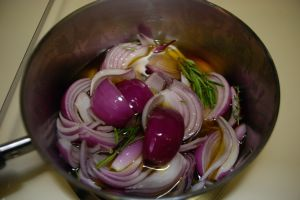 Red onions in oil