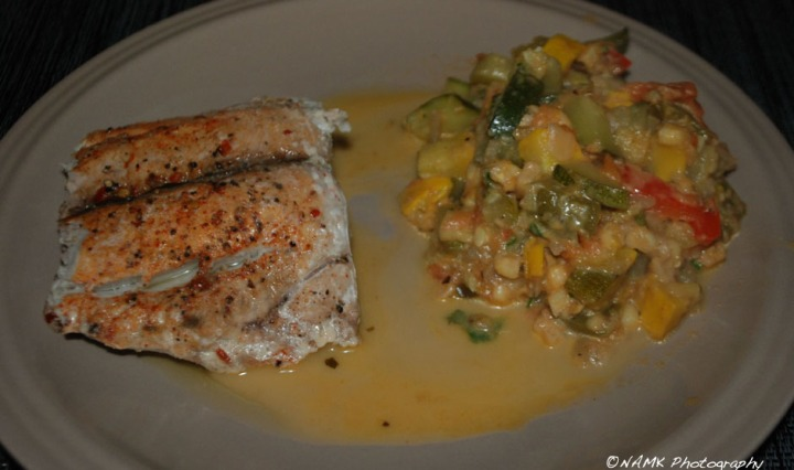 bluefish zucchini cream dinner