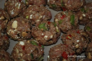 raw meatballs closeup