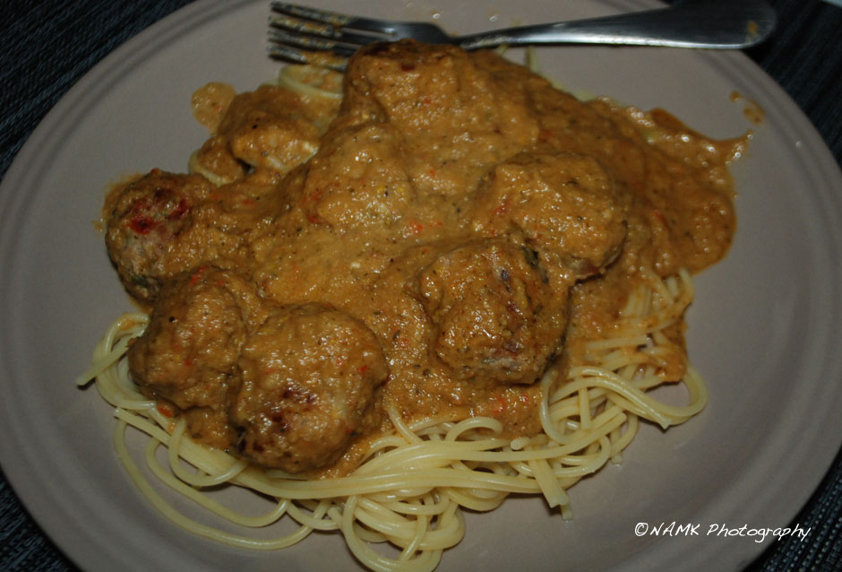 spaghetti and lamb/ turkey meatballs