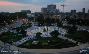 bird's eye view of dîner en blanc