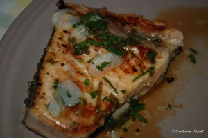 Lemon, garlic, mint swordfish