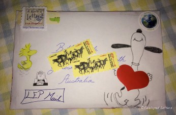 Front of envelope. My first mail ever to be sent to Australia.